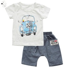 BINIDUCKLING Summer Boys Sets Kids Car Printted t-shirts Boy Cotton t shirt +Shorts Suit Set Children Clothing Kid Clothes
