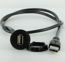 22mm black surface USB connector/USB socket (USB2.0 FEMALE A - MALE A with 60cm wiring)(China)