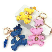Furling Fashion Lovely Bear Key Ring PU Leather Trinket Key Chain Innovative Gift Items Hanging Bag Car Key Accessoy