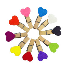 15packs/lot New mix 10 color Heart Wooden Clip wood pegs Mini Bag Paper Clip Fashion Special Gift wholesale(China)