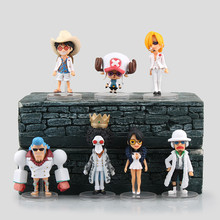 New Anime One Piece 7pcs/lot Pirate Straw Hats Luffy Chopper Action Figure Toys Movie Mini figuras Brinquedos Kids Cosplay Gift
