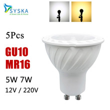 5PCS LED Bulb LED Light LED Lamp GU10 MR16 COB 5W 7W 12V 220V spotlight Lampada Special Beam angle 38degree