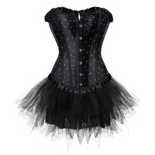 women's sexy corset and skirt Rhinestone lace dress waist trainer bustier and lingerie fancy girl showtime S-2XL
