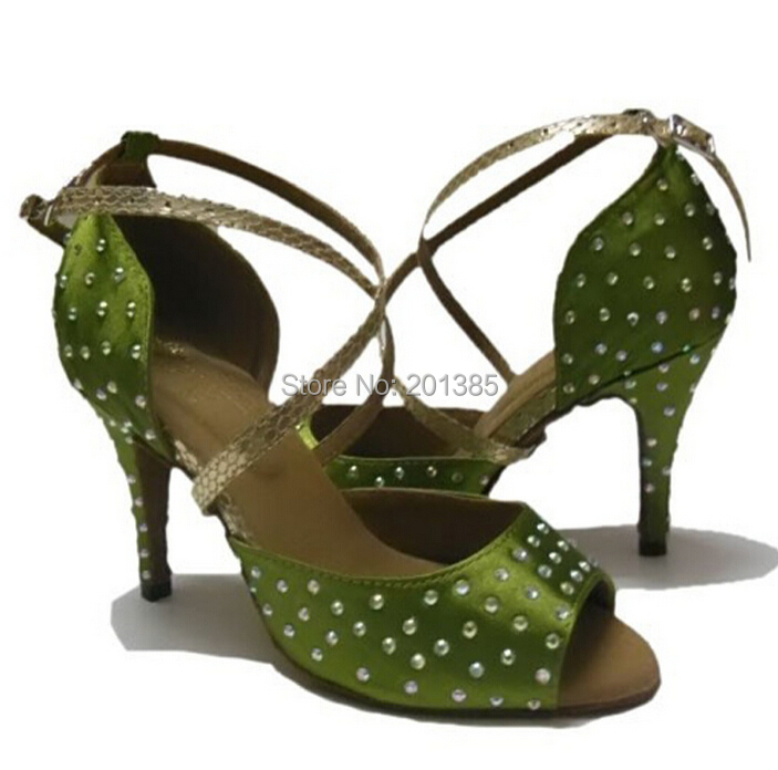 New Free Shipping Green Satin Crystal Salsa Ballroom Dance Shoes Latin Dance Shoes ALL Size<br>