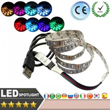 LED Strip light SMD 3528 RGB 1.5M DC5V 60Pcs/M LED USB light TV background photo frame Christmas party Automotive interior light