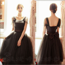 lace up back tea length bridesmaid puffy braidmaid pageant dress ladies brides black bridesmaids dresses ball gown D903
