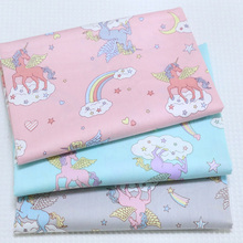 Pretty 50x160cm 3 Colors Cartoon Unicorn Horse Printed Cotton Fabric For DIY sewing Doll Cloth bedding quilting(China)