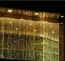 Fairy string Curtain lights 3*3 300 Leds Wall Icicle lights, 8 modes Window fairy Christmas lights(China)