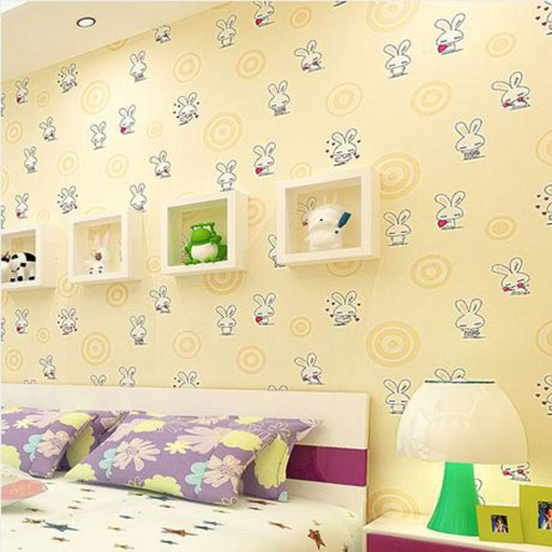 beibehang Non-woven wallpaper modern love bunny boy and girl childrens room bedroom living room backdrop wallpaper<br>
