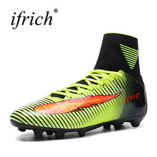 Ifrich High Ankle Football Boots 2017 Long Spikes Soccer Cleats Green Orange Ankle Soccer Boots Leather Football Trainers