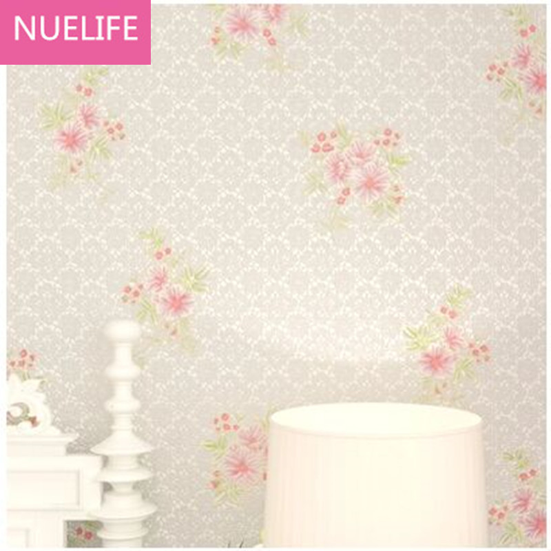 0.53x10m Pastoral Lace flowers 3D Wallpapers Living Room Romantic Wedding Room Korean Bedroom Nonwovens Wallpaper N4<br>