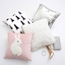 Luxury 45*45 Silver Gold Sequins Cushion Decor sofa white Faux Rabbit fur pillowcase pink pillow covers home Party decor Cushion