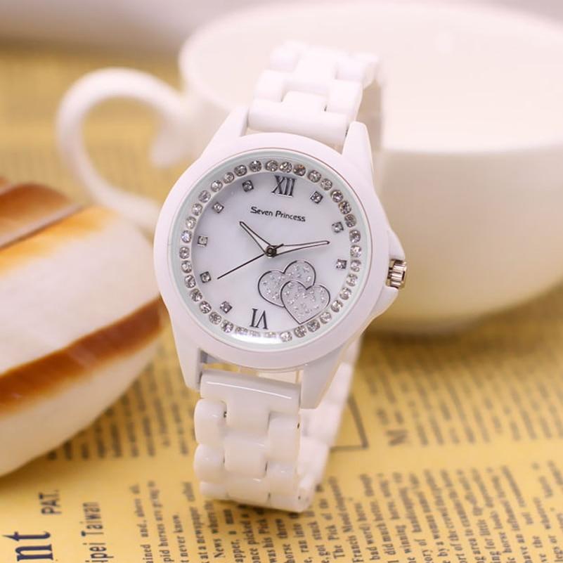 Белые часы с керамическим браслетом женские