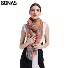 BONAS Print Pure Silk Scarf Luxury Brand Women Summer Seasons Shawl Wrap Chiffon Fashion Polyester Bandana Beach Pashmina Wraps