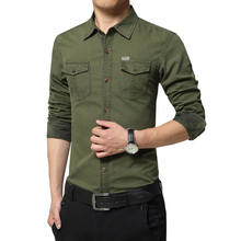 newest design fashion men long sleeve casual military shirt uniforms multi pocket navy green 2XL 3XL ACL80