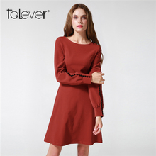 Autumn Elegant Women Long Sleeve Midi Warm Office Dresses 2017 fashion Winter Female Plus Size O-Neck A-Line Party Dress Talever(China)