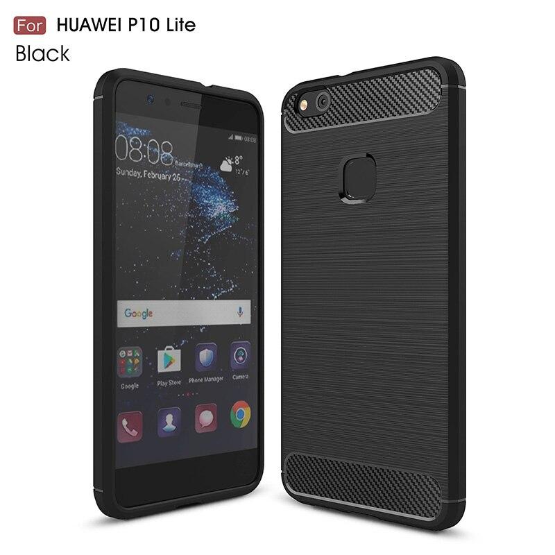 carbon fiber brushed silicone case huawei P10 Lite (14)
