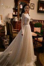 Buy Amazing V neck Wedding Dress 2018 Long Sleeve Beading Crystal Sparkling Bridal Gown Line Custom Size Gown for $287.55 in AliExpress store