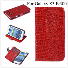 Luxury S3 Crocodile Leather Wallet Case For Samsung I9301 Galaxy S3 Neo S3 Duos GT-I9300i I9300 S III Stand Cover + Free Film(China)
