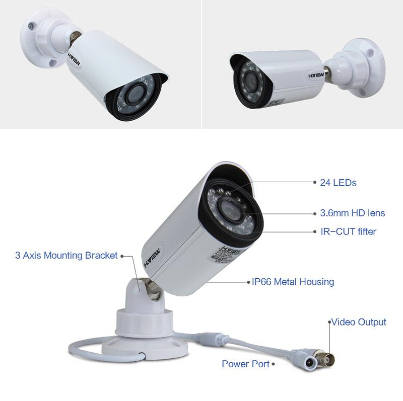 H.VIEW 8ch CCTV Surveillance Kit 4 Cameras Outdoor Surveillance Kit IR Security Camera Video Surveillance System DVR Kits (16)