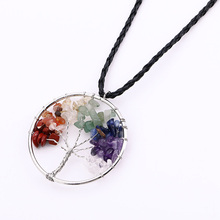 Tree Of Life 7 Chakra Stone Pendant Necklace Copper Crystal Stone Necklace Jewelry Gifts For Women@M23