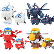 Newest style 1pcs 7CM Super Wings Mini Airplane Robot baby toys Action Figures Super Wing Transformation Animation for Gift(China)