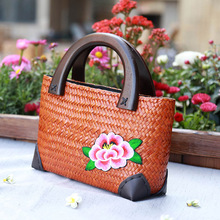 Vintage Embroidery Women Handbag Thailand Straw Bag Ladies Travel Holiday Summer Beach Bohemian Weaving Woven Straw Tote Bag