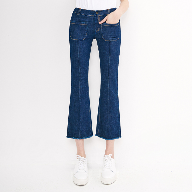 YERAD New Fashion Women Fit Flare Jeans Denim Pants Blue High Quality Tassel Bell Bottom PantsÎäåæäà è àêñåññóàðû<br><br>
