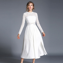 Buy women white lace autumn dress female Elegant long summer dress ladies party dresses long sleeve midi dress clothes vestidos for $26.81 in AliExpress store