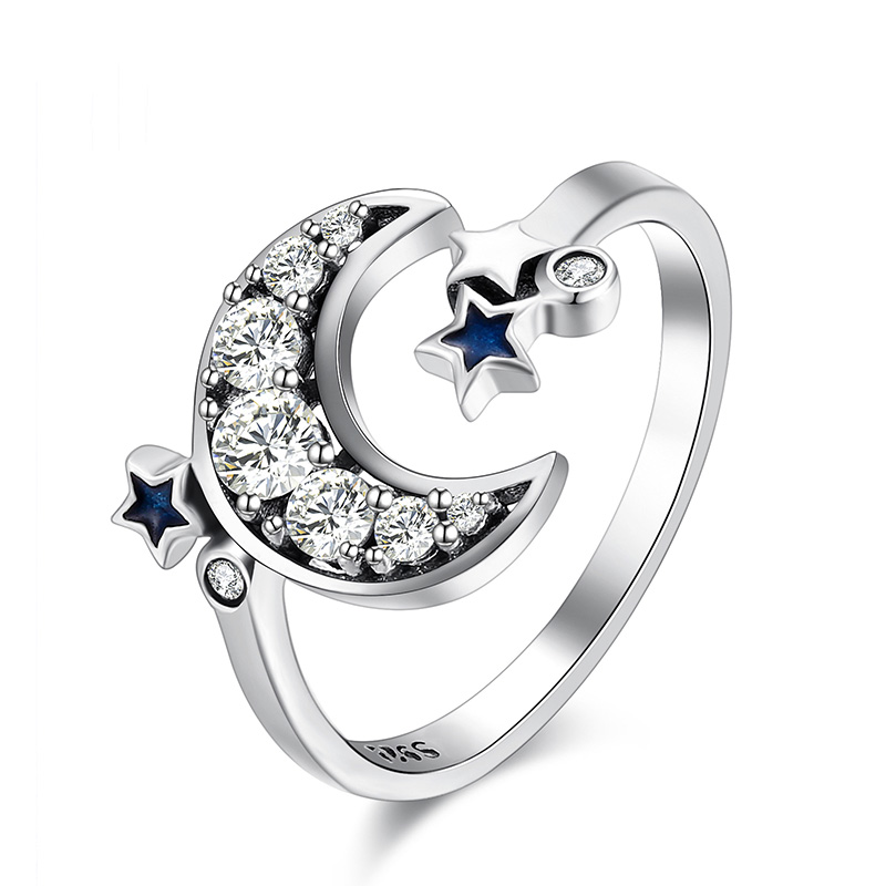 8Pcs Crystal Flower Eye Starry Sky Star Ring Set Women Fashion Jewelry L