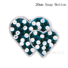 New Design Double Heart Inlay Full Rhinestone Snaps Button Charms 18mm Snaps Button Jewelry JSSB1815-3