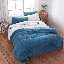 Blue and white Bedding sets flannel Fabric Queen Size Thick and warm winter bedlinens velvet Duvet Cover Flat Sheet Pillow Cases(China)