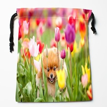 Best Flowers Dog Pattern Drawstring Bags Custom Storage Printed Receive Bag Compression Type Bags Size 18X22cm Storage Bags(China)