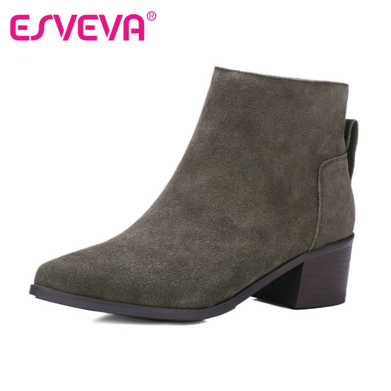 ESVEVA Pointed Toe Square Heel Shoes Woman Ankle Boots Autumn Zipper Women Shoes Real Leather Ladies Fashion Boots  Size 34-40<br><br>Aliexpress