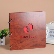 16 inch Wedding Big Vintage Wooden diy Self Adhensive Black Cards Photo Scrapbook Baby Paper Books Albums Album for Photos(China)
