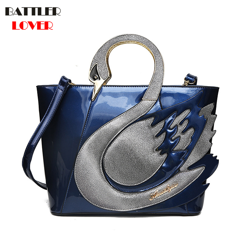 2018 Swan Women Patent Leather Handbags Large Capacity Shopping Bag Fashion Totes Shoulder Bag Women Femme Mujer Bolsa Feminina