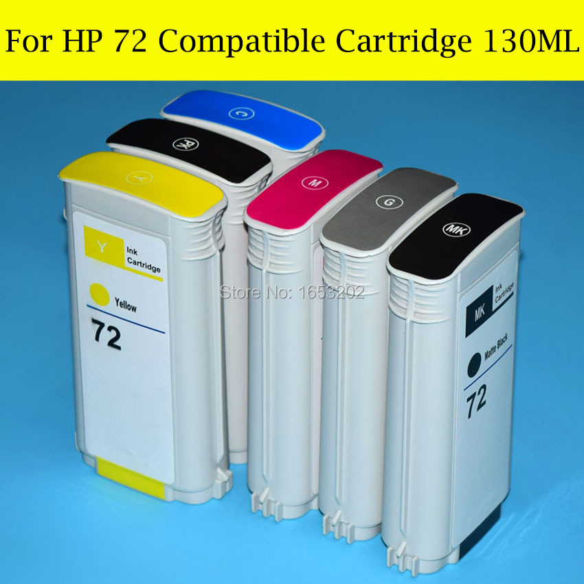BL 6 Pieces/Lot HP72 Full Ink Cartridge For HP 72 Compatible For HP T610 T620 T770 T790 T1200 T1300 T2300 Printer<br><br>Aliexpress