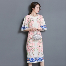 2017 Xia Wenyi Fan jacquard horn sleeve long paragraph dress female