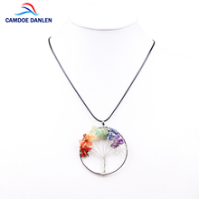 Trendy 7 Chakra Tree Of Life Pendant Necklace Metal Crystal Natural Stone Rope Chain Charm Necklace Women Jewelry Christmas Gift(China)