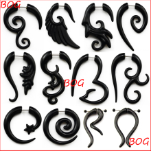 BOG-Pair Black Acrylic Fake Cheater Twist Spiral Ear Taper Gauges Expanders Earring Tunnel Plugs Piercing Body Jewelry