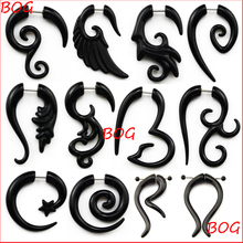 BOG-Pair Black Acrylic Fake Cheater Twist Spiral Ear Taper Gauges Expanders Earring Tunnel Plugs Piercing Body Jewelry(China)