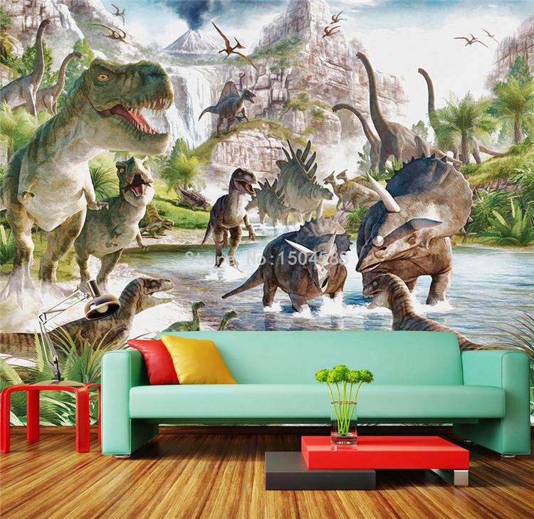 HTB1BDkIRFXXXXc6XXXXq6xXFXXXU - 3D Wall Mural Wallpaper Custom Any Size Cartoon Children Wallpaper 3D Stereo Dinosaur World Backdrop Wall Decor Papel De Parede