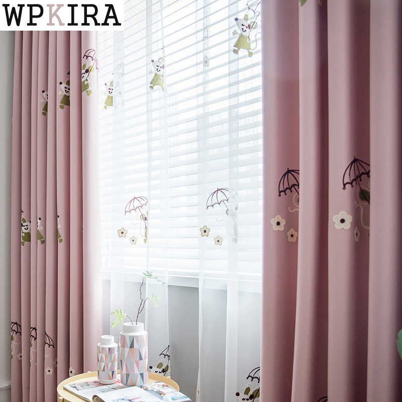 Korean Pastoral Style Sweet Pink Embroidered Curtains for Living Room Princess Curtains for Girl Bedroom Curtain S032&30