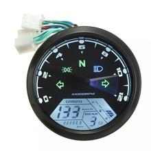 ABS Material Digital 12V Universal Digital Motorcycle Speedometer Odometer Gauge Backlit Dual Speed meter with LED Indicator(China)