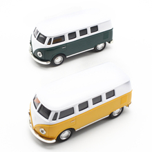 Classical Bus Diecast 1/32 Mini Alloy car model with Sound Light by Soft-World Classic Pull Back Open Door Toys for Children(China)