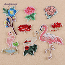 PF Flower Bird Patches for Clothing Iron on Fabric Sticker for Clothes Sew Embroidery Patches Application for Dress Jacket TB107