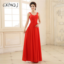 Summer New Upscale Chiffon Polyester Chemical Fiber Fabric Red Sexy Bandage Shoulder Dinner Prom Long Women Evening Wear Dresses(China)