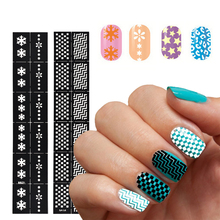 1Sheet 24 Styles Reusable Stamping Stickers Nail Art Tool DIY Nail Art Hollow Nail Template Tips Guides Stickers Stencil Guide(China)