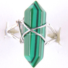 1Pcs Free Shipping Zinc Alloy Natural Stone Green Malachite Ring Adjustable Z287