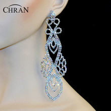 "Chran Luxury Bridal Gold Color AB Iridescent Rhinestone Crystal Wedding Prom Dangle 6"" Chandelier Drop Earrings Jewelry LE874"